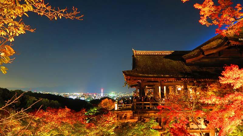 清水寺の夜のライトアップ