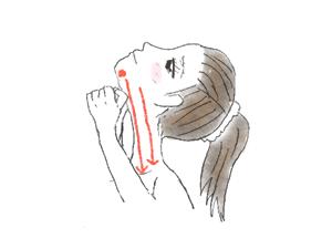 首をマッサージ